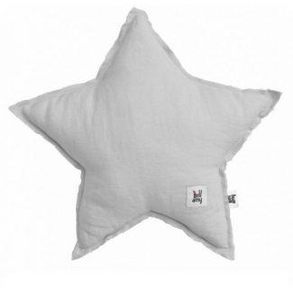 Szara poduszka dziecięca w kształcie gwiazdy z lnu