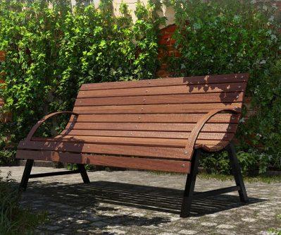 Drewniana ławka parkowa wagris 160 cm – orzech