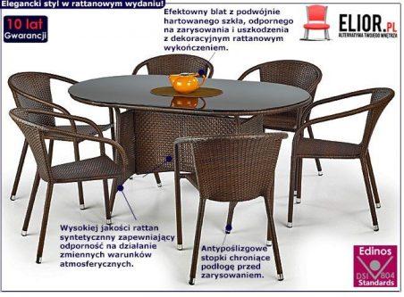 Szklany stół ogrodowy lukka – brązowy