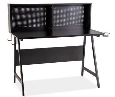 Czarne biurko gabinetowe z nadstawką b-192