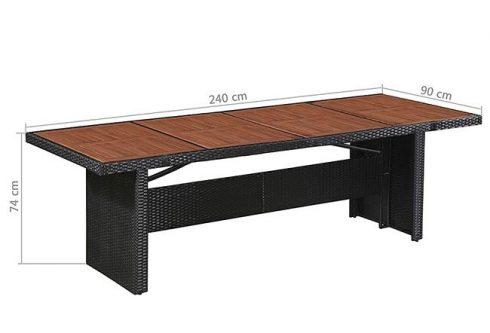 Sielski stół ogrodowy semma – brązowo-czarny