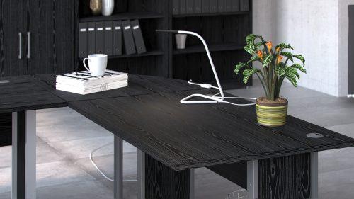 Biurko narożne prima czarny 230×200 szare nogi