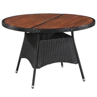 Stół ogrodowy z drewnianym blatem midia – czarny