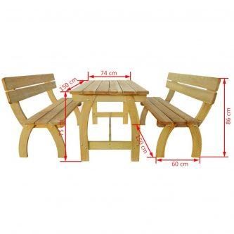 Zestaw drewnianych mebli ogrodowych darco 2x – brązowy