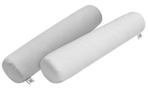 Biała poduszka wałek dla dziecka z lnu