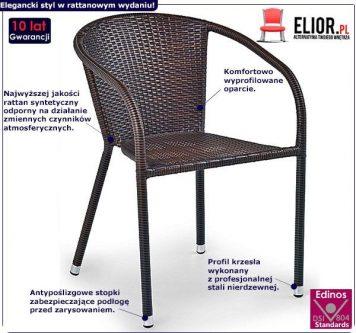 Rattanowe krzesło ogrodowe lukka – brązowe