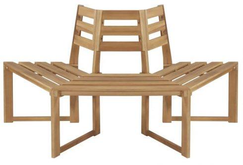 Drewniana ławka pod pień drzewa lumac – brązowa