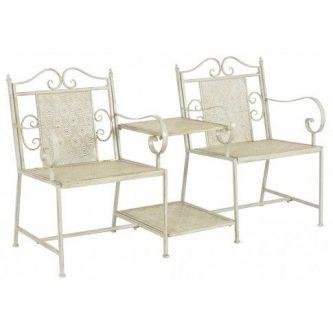 Metalowa ławka ogrodowa ze stolikiem gamma 2x – biała