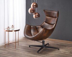 Brązowy fotel wypoczynkowy ze skóry luxor