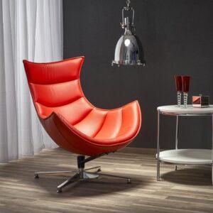 Czerwony fotel wypoczynkowy ze skóry luxor