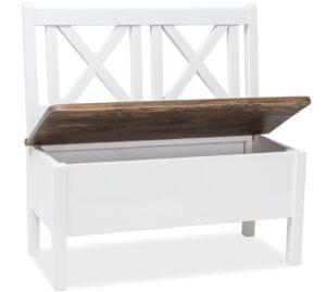 Drewniana ławka poprad brunatny wosk / biały wosk