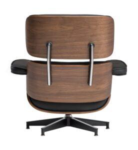 Czarny fotel ze skóry tokyo z podnóżkiem
