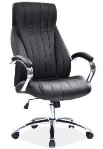 Czarny fotel biurowy z przeszyciami q-347