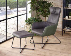 Tapicerowany fotel z podnóżkiem tinto