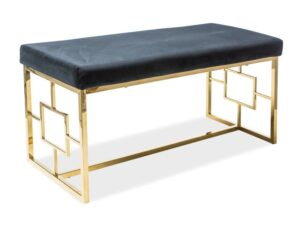 Ławka z tapicerowanym siedziskiem na złotym stelażu noir
