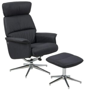 Fotel wypoczynkowy z czarnej tkaniny alura chrom z podnóżkiem