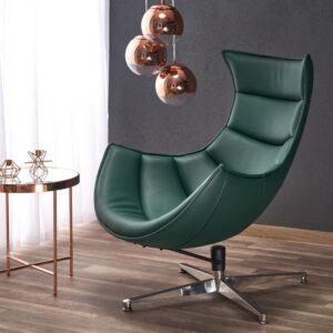 Zielony fotel wypoczynkowy ze skóry luxor