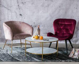 Designerski fotel wypoczynkowy na złotej podstawie ramsey vic