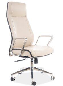 Beżowy fotel z metalowymi podłokietnikami q-321