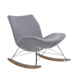 Tapicerowany fotel bujany z miękkim siedziskiem swing