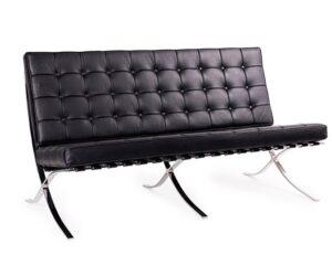 Designerska sofa tapicerowana skórą ekologiczną barcelon