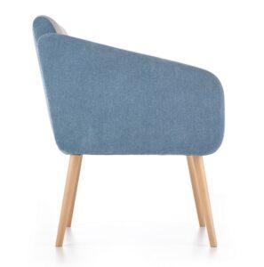 Tapicerowany fotel na drewnianych nogach well