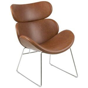 Designerski fotel z ekoskóry cazar na chromowanych płozach vintage brąz