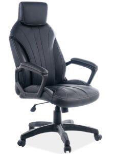 Czarny fotel biurowy ze stałym zagłówkiem q-370