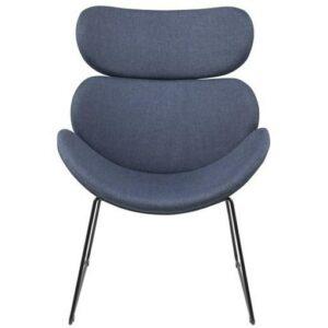 Designerski fotel na czarnych płozach cazar dark blue