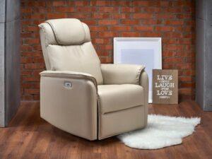 Rozkładany fotel tapicerowany ekoskórą paradise
