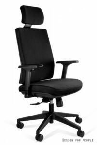 Czarny fotel biurowy z regulowanym zagłówkiem shell