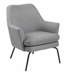 Szary fotel wypoczynkowy z miękką poduszką chisa