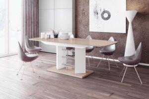 Stół rozkładany w wysokim połysku linosa 3 cappucino