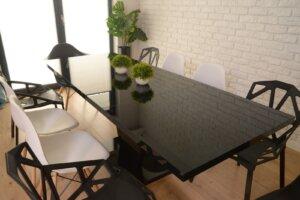Czarny stół rozkładany na jednej nodze niko w wysokim połysku