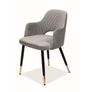 Pikowane krzesło aksamitne franco velvet ze złotymi końcówkami