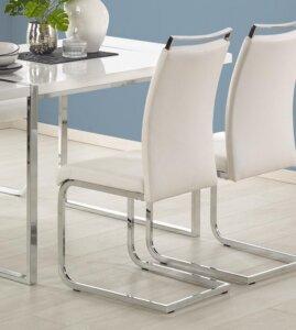 Białe krzesło na płozach z uchwytem k250