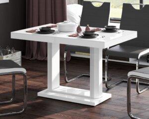 Rozkładany stół w wysokim połysku quadro 120 biały