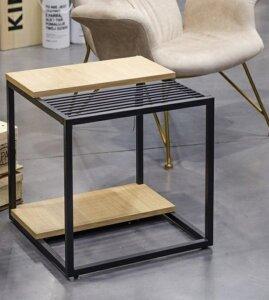 Stolik pomocniczy w stylu loft z gazetownikiem galler