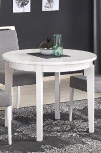 Okrągły stół do jadalni z funkcją rozkładania sorbus biały