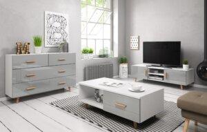 Skandynawski stolik kawowy z szufladą sweden II biały/szary połysk