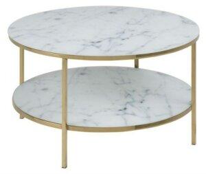 Okrągły stolik kawowy z półką alisma marable/gold