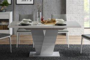Stół rozkładany na jednej nodze niko w połysku z szarym blatem i białą nogą