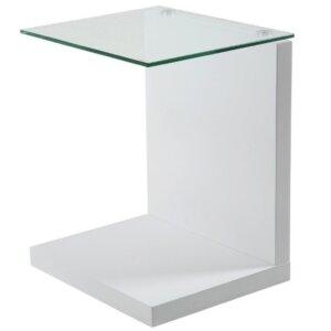 Biały stolik pomocniczy ze szklanym blatem tupit