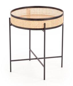 Okrągły stolik pomocniczy z rattanowym blatem lanipa