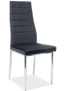 Aksamitne krzesło na chromowanych nogach h261 velvet
