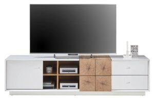 Szeroka szafka pod telewizor z szufladami i drzwiczkami portmore