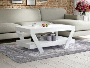 Akrylowa ława pokojowa z półką vegan 100×60 biały