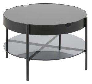 Okrągły stolik kawowy ze szklanym blatem i półką tipton glass l