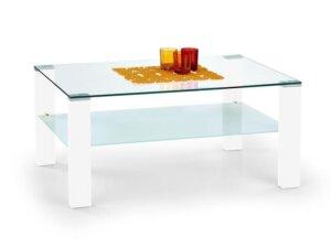 Ława ze szklanym blatem i półką simple