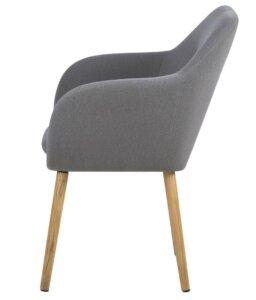 Krzesło na drewnianych nogach z poduszką i podłokietnikami emilia grey
